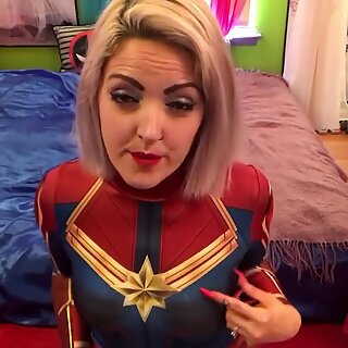 super hot MYLF dresses up like Captain marvel and Seduces Daughters boyfriend