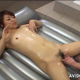 Amazing seductive AI Nonohara gets erotic massage and tough fuck