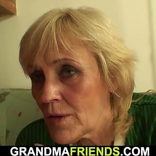 Very old blonde granny threesome fuck