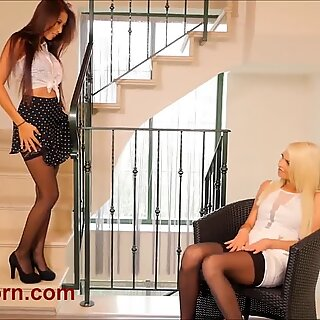 Black stockings sizzles on these two hot babes